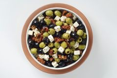 Olives with feta and dried tomatoes Royalty Free Stock Photo
