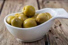 Olives filled with anchovies. Spanish typical snack made of olives and anchovies Royalty Free Stock Photo