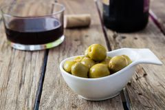 Olives filled with anchovies. Spanish typical snack made of olives and anchovies Stock Image