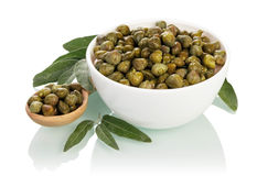 Olives in glass bowl Stock Images