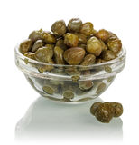 Olives in glass bowl Royalty Free Stock Images