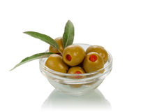 Olives in glass bowl Stock Image