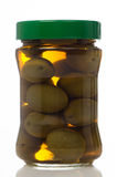 Olives in glass jar Royalty Free Stock Photography