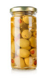 Olives in a glass jar Royalty Free Stock Image