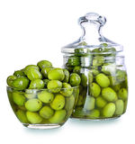 Olives in a glass , Preserved vegetables composition Royalty Free Stock Photos