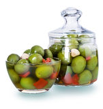 Olives in a glass , Preserved vegetables composition Stock Images