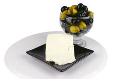 Olives and goat cheese Royalty Free Stock Images