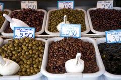 Olives. Greek Olives at Athens market Stock Photo