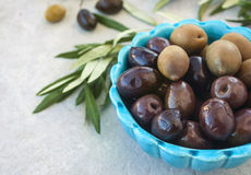 Olives and green brunch in a blue bowl on a white background Stock Image