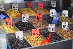 Olives on green market Stock Photos