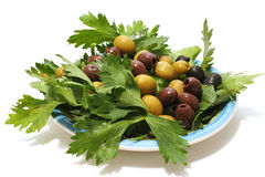 Olives and green salad Royalty Free Stock Photos