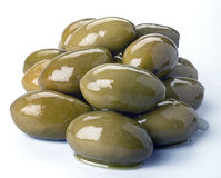 Olives. Green olives whole on white Stock Images