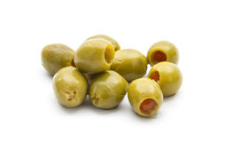 Olives. Group of green olives isolated on white background Royalty Free Stock Images