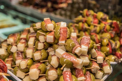 Olives, Ham and Cheese Appetizer at Mercado de San Miguel Stock Photo