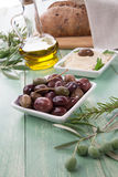 Olives and Hummus - Mediterranean snack Royalty Free Stock Images