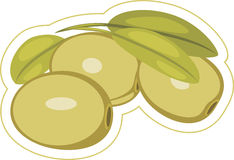 Olives. Label isolated on the white Royalty Free Stock Image