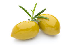 Olives on leaves isolated on white. Stock Image