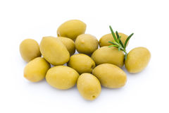 Olives on leaves isolated on white. Royalty Free Stock Photography
