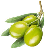 Olives with leaves on a white Royalty Free Stock Photo