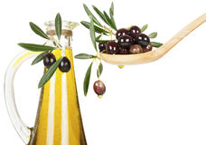 Olive oil and olives Royalty Free Stock Images