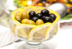 Olives  with lemon Royalty Free Stock Image