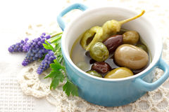 Olives in little pot Royalty Free Stock Photos