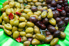 Olives-marinated. Marinated olives, green and black,mediterranean food Stock Image