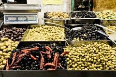 Olives, Market, Jerusalem, Israel. Spices, cakes, sweets, fruits, vegetables on display in Israeli Market, Jerusalem, Israel Royalty Free Stock Photo