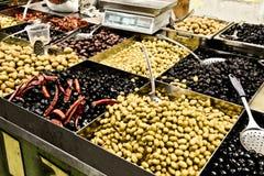 Olives, Market, Jerusalem, Israel. Spices, cakes, sweets, fruits, vegetables on display in Israeli Market, Jerusalem, Israel Royalty Free Stock Image