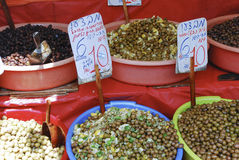 Olives in the market. Olives for sale in Carmel Market, Israel Stock Photos