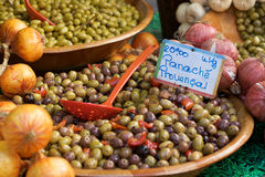 Olives on a market stall Royalty Free Stock Photo
