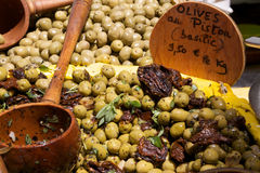 Olives on a Market stall stock photography