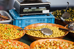 Olives at a market stall Stock Photography