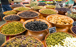 Olives on market stand. Assortment of olives on market stand, Ajaccio, France stock photo