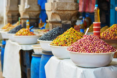 Olives on Moroccan market (souk) in Essaouira, Morocco Stock Image