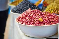 Olives on Moroccan market (souk) in Essaouira, Morocco Stock Photography