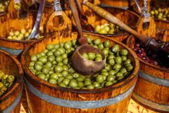 Olives. Natural Olives placed on different categories Stock Images