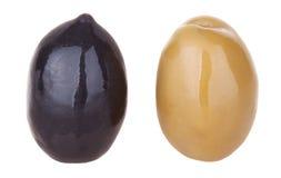 Olives noires et olive verte Photographie stock