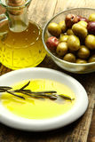 Olives oil. Extra virgin olive oil and a branch with fresh olives Royalty Free Stock Image