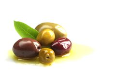 Olives in oil Stock Photography