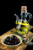 Olives and oil Royalty Free Stock Images