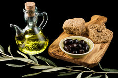 Olives and oil Royalty Free Stock Photo