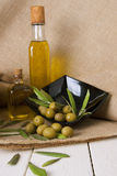 Olives and oil Stock Photos