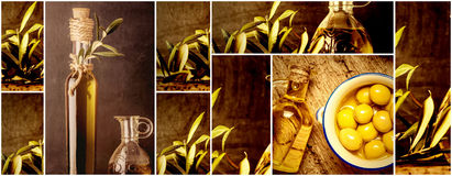 Olives oils photo collage Royalty Free Stock Images
