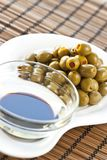 Olives and oliv oil Royalty Free Stock Photography