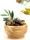 Olives and olive oil. Fresh olives and olive oil Royalty Free Stock Images