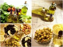 Olives and olive oil. Close up shot of olives and olive oil Stock Image