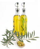 Olives and olive oil. With a branch of an olive tree on a white background Royalty Free Stock Image