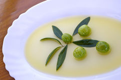 Olives with olive oil Stock Images