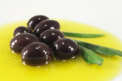 Olives and olive oil. Olives, olive oil and leaves, closeup Stock Image